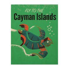 Cayman Islands vintage travel poster Wood Wall Art