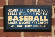 Baseball Terms Listed on a Vintage Style Wall Plaque/Sign - Custom Color Baseball Terms, Baseball Bases, Baseball Mom, Baseball Field, Softball, Baseball Stuff, Baseball Wall Art, Baseball Crafts, Baseball Quotes