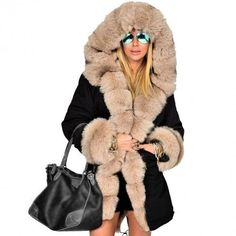 ca19fde2d5f New Women Winter Long Warm Thick Parka Faux Fur Jacket Hooded Coat