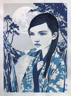 This is a screen print of the artwork 'Nagi' It is screen printed by the artist himself in five colours on Canson art paper (off white, 224 gram). Printed in a limited edition of 25 pieces. Signed and numbered by the artist. (Image size: x cm) Yellow Paper, Silk Screen Printing, Off White, Disney Characters, Fictional Characters, Colours, Disney Princess, Artwork, Artist