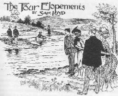 The Four Elopements, by Sam Loyd: (longish, continued in comments)  It is told that four men eloped with their sweethearts, but in carrying out their plan were compelled to cross a stream in a boat which would hold but two persons at a time. In the middle of the stream, as shown in the sketch, there is a small island. It appears that the young men were so extremely jealous that not one of them would permit his prospective bride to remain at any time in the company of any other man or men…