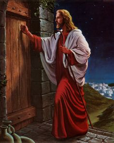 """When I was a little girl, someone had given me a book mark with this picture. I love the message it portrays. Revelation 3:20 """"Behold, I stand at the door, and knock: if any man hear my voice, and open the door, I will come in to him, and will sup with him, and he with me."""""""