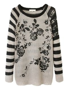 Gray Stripe And Floral Pattern Knit Sweater
