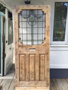 victorian stained glass front door wooden reclaimed period old