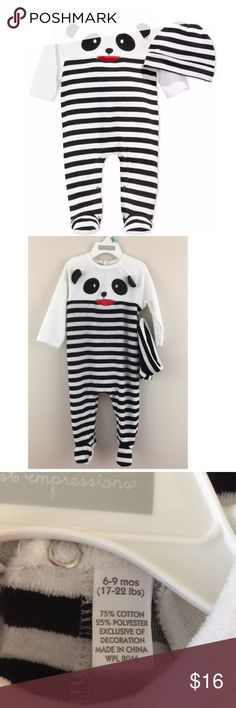 New First Impressions boys striped panda onesie This cute baby boy's two piece outfit includes a black and white striped cotton jumpsuit with a Panda bear face applique, and a matching hat.  Infant boy's sizes 2-Piece outfit Panda Bear jumpsuit Snaps at back & inner legs Matching hat included! 100% Cotton Brand: First Impressions Size: 6-9 months  17-22 lbs    Condition: New with tags!    Comes from a smoke free home.  Stock #: AMR8-145 First Impressions One Pieces Footies