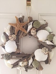 Seashell & Starfish Driftwood Wreath – Urchin Wreath – Seashell Wreath – Coastal Home Decor – Nautical- Christmas Wreath – Free US Shipping – My Home Design 2019 Driftwood Wreath, Seashell Wreath, Driftwood Crafts, Seashell Art, Seashell Crafts, Coastal Wreath, Coastal Decor, Coastal Cottage, Coastal Living