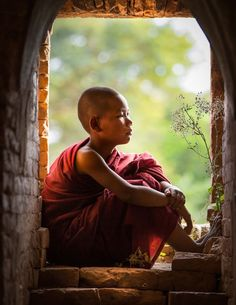 Little monk in a peaceful day