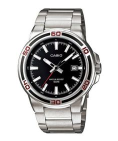 Casio Mens MTP1329D-1AV Silver Stainless-Steel Quartz Watch with Black Dial