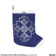 Christmas Silver Filigree with Name in Deep Blue Large Christmas Stocking - With its delicate silvery filigree on a beautifully rich blue set off by white cuff and toe, this Christmas stocking is definitely one for the ladies! Edit the placeholder name to completely personalize it. #Christmas #stocking