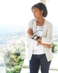 Shimmer wave cardigan & Cirrus sequin shell #ColdwaterCreek
