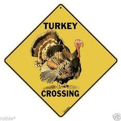 "Turkey Metal Crossing Sign 16 1/2"" x 16 1/2"" Diamond shape"