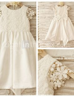 A-line Knee-length Flower Girl Dress - Cotton / Lace Short Sleeve Scoop with 2016 - $79.99