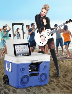 Bring the Party with KoolMax _40-Quart Cooler with Integrated Bluetooth Audio System and Power Station #koolmax #cooler audio #party machine