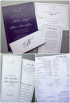 Dark Eggplant Purple Background with Gray and White Text and Monogram Belly Band Wedding Invitaitons and Ceremony Programs