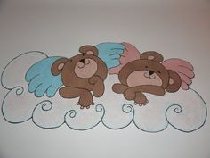 Angel-Bears: wall decoration (inspired by Raffaello's Angels)