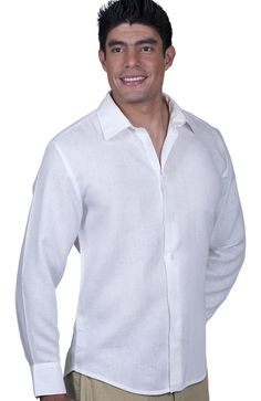 Bradford Custom Beach Wedding Shirts are made of 100% Irish linen great for formal or casual activities on the beach. It features a fitted cut, front button closure and your choice of curved or straight bottom hem.