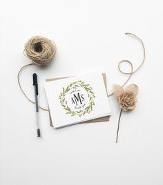 Custom wedding monogrammed thank you card by PrintSmitten via etsy. #monogrammed #thankyoucards