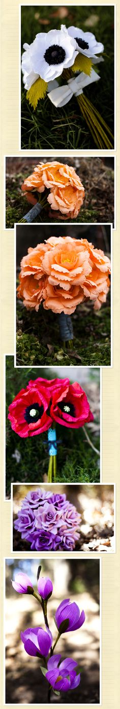OMG These paper flowers look so real! They're made by an etsy seller, out of crepe paper. I wonder if I can figure out a way to make them with cardstock? Paper Flower Art, Tissue Paper Flowers, Paper Flower Tutorial, Flower Crafts, Paper Roses, Handmade Flowers, Diy Flowers, Fabric Flowers, Wedding Flowers