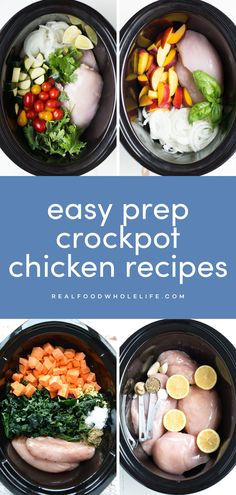 Easy chicken breast slow cooker or crockpot recipes from Real Food Whole Life #realfoodwholeliferecipe #crockpotrecipe #slowcookerrecipe #chickencrockpot #glutenfreerecipe #dairyfreerecipe #dairyfreechicken #glutenfreechicken #fallchickenrecipe #mealplanideas #easychickendinner Chicken Breast Recipes Slow Cooker, Slow Cooker Stew Recipes, Fall Crockpot Recipes, Crockpot Chicken Healthy, Chicken Breast Recipes Healthy, Dinner Crockpot, Real Food Recipes, Easy Recipes, Dinner Recipes