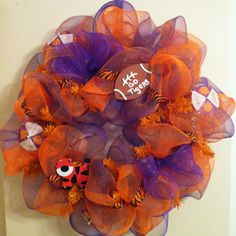 #Clemson deco mesh wreath