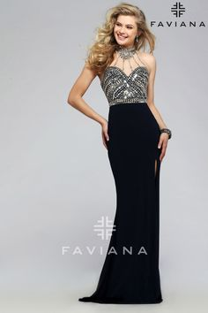 87514d57c6614 Jersey jewel neck prom dress with beaded bodice and high slit.  Faviana  Style S7711. Formal ...
