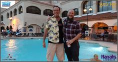 """With Kyle hanging at Harrah's pool at The Laughlin Chamber's Birthday Party Bash - while his wife slaves at their restaurant. This is his """"Don't let Sierra know we're having a good time face""""! :) I'm performing at Lisa's Bistro tonight at 5:30PM"""