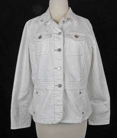 CAbi L Jacket White Denim Jean Long Sleeves Misses Style 249