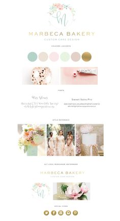 bakery logo, logo design, cake logo, floral logo, wedding logo, watercolor logo, design, logo Marbeca Bakery logo design, pastel, palette, gold, mint, peach, pink, blush