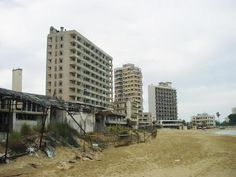 Varosha is in the Turkish occupied city of Famagusta in Cyprus. Abandoned Churches, Abandoned Train, Abandoned Places, Brigitte Bardot, Famagusta Cyprus, Turkish Military, Strange Places, Camaro Ss, Modern Buildings