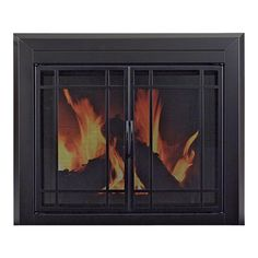 Pleasant Hearth Easton Fireplace Glass Door — For Masonry Fireplaces, Small, Midnight Black, Model EA-5010
