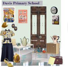 """Vintage School Secretary"" by alynncameron ❤ liked on Polyvore"