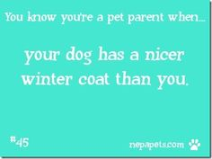 Who has the better wardrobe in your house?               You Know You're A Pet Parent When…#45 The Winter Coat.