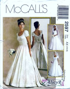 McCalls Sewing Pattern 2597 Alicyn Designer Wedding Dress Bridal Gown.     Pattern 2597 is UNCUT and in factory folds. Sizes 4, 6 and 8 which
