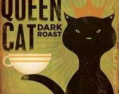 Black Cat Records album inspired artwork original graphic illustration signed archival artists print giclee 12 x 12. $39.00, via Etsy.