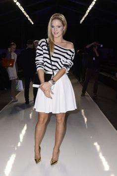 Zosia Ślotała wearing Mohito sweter and white skirt <3 #fashionweekpoland #mohito