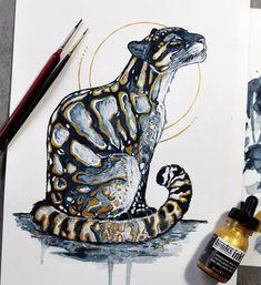 No photo description available. Animal Sketches, Animal Drawings, Cool Drawings, Art Sketches, Fantasy Kunst, Fantasy Art, Clouded Leopard, Ink Art, Traditional Art