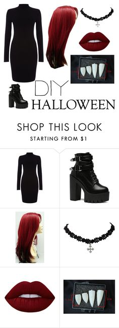 """""""DIY Vampire Costume"""" by a-random-fandom ❤ liked on Polyvore featuring Phase Eight, Lime Crime, halloweencostume and DIYHalloween"""