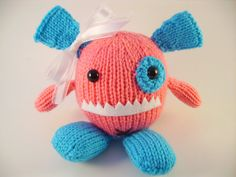 New monster!  Ivy Handknit Stuffed Monster Toy by RainyDayCraftCo on Etsy, $10.00