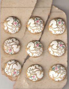 9, Victorian Brass, Enamel Buttons, Roses!!! Bebe'!!! Beautiful Victorian enamel buttons!!!