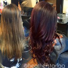 Brown red to a red violet balayage ombre