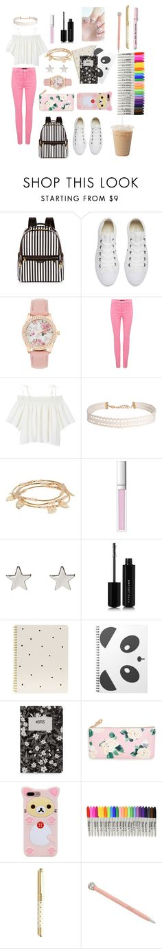 """UNIVERSITY"" by abs-isaunicorn ❤ liked on Polyvore featuring Henri Bendel, Converse, J Brand, Monki, Humble Chic, LC Lauren Conrad, RMK, Jennifer Meyer Jewelry, Marc Jacobs and Sugar Paper"