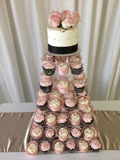Blush pink, Ivory and black wedding cupcake tower by Well Dressed Cakes by Brett. www.welldressedcakes.ca Cupcake Tower Wedding, Wedding Cupcakes, Well Dressed, Blush Pink, Ivory, Black, Black People, Light Rose