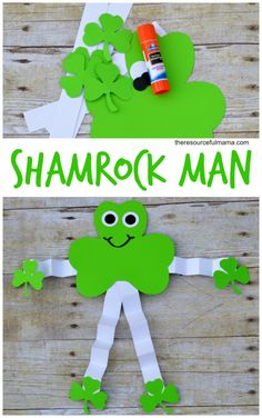 This Shamrock man is an easy and super inexpensive kid craft project for St. Patrick's Day.