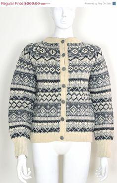 ON SALE Norwegian Wool: Norway Wool Sweater Norwegian Fair Isle Sweater Handmade In Norway Traditional Vintage Norwegian Wool Cardigan Jumpe by MyrtleBedford on Etsy https://www.etsy.com/listing/214793822/on-sale-norwegian-wool-norway-wool