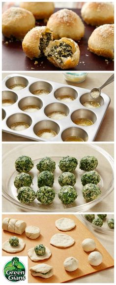"Winner of the Pillsbury Clever Twist Award at the 47th Pillsbury Bake-Off® Contest. Spinach Dip-Stuffed Garlic Rolls using Green Giant veggies. Love spinach dip? Try it all rolled up in one easy and tasty appetizer. This recipe says ""second batch may be needed."" Only takes 30 minutes to prep."