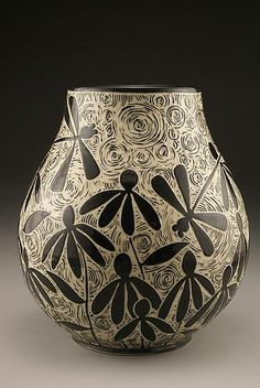 Dragonflies & Coneflowers vase - sgraffito