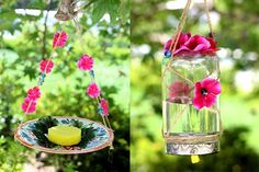 Butterfly nectar bird feeder - What a super savvy Bird Feeder for spring! Using duct tape & a tin can you can create this super simple bird feeder. Check out this post to see 9 More plus 2 DIY butterfly Feeder's! A really quick and easy DIY project idea! Perfect crafts idea for kids. #easycrafts #crafts #craftideas #diy #craftidea #kidscraftidea #hhmuk #crafting