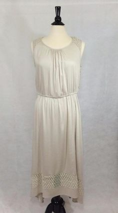 CHICO'S NEW $119 Lace Detail Ariel High Low Maxi Dress Womens Cement Full NWT #Chicos #Maxi #SummerBeach