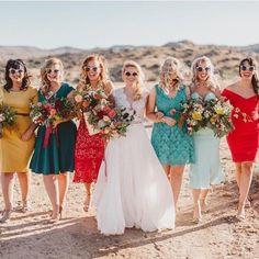 One of our coolest brides ever just got married this past weekend in her custom @divineatelier top and skirt. She looks amazing but look at her entire bridal party!!!! That's mix-and-match done right! Congrats @danagrantphoto  we wish you a lifetime of happiness and blessings on your marriage! #wedding #squadgoals #bridalparty #bridesmaids