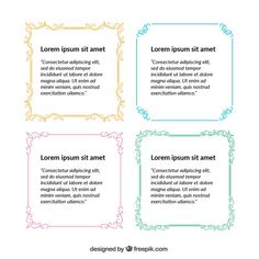 Ornamented quote frames Free Vector
